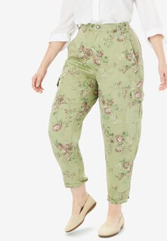 Lightweight Cargo Pocket Pant by Chelsea Studio®, DISTRESSED FLORAL
