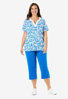 2-Piece Tunic and Capri Set, BRIGHT COBALT TROPICAL