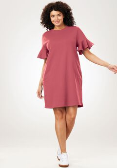 Ruffle Sleeve Fleece Dress, ROSE BLOOM, hi-res