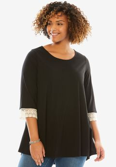 Crochet sleeve tunic, BLACK, hi-res