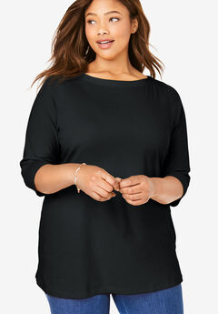 Perfect boatneck tee, BLACK, hi-res