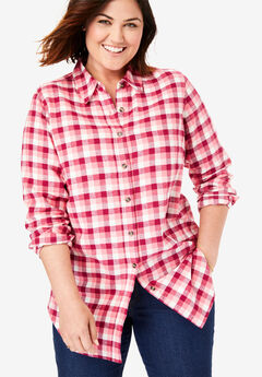 Classic Flannel Shirt, TEA ROSE PLAID