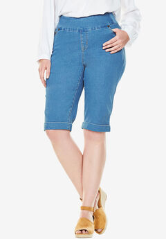Smooth Waist Bermuda Jean Short, LIGHT STONEWASH