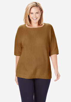Three-Quarter Sleeve Pullover Shaker Sweater, SOFT BROWN