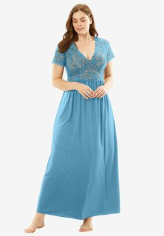 Long Lace Babydoll Gown by Amoureuse®, FOUNTAIN BLUE, hi-res