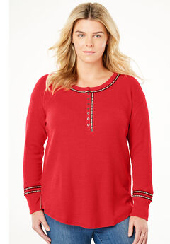 Printed-Trim Thermal Henley,