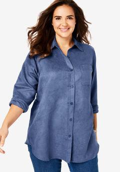 Soft Sueded Button Down Shirt, LIGHT INDIGO
