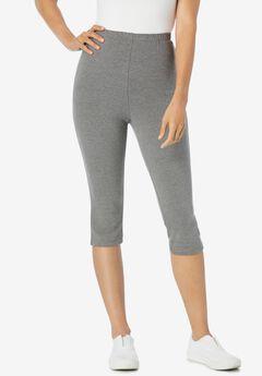 Stretch Cotton Capri Legging, MEDIUM HEATHER GREY