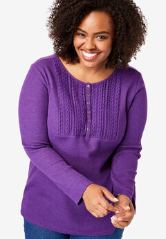 Lace Bib Washed Thermal Henley Tee, RADIANT PURPLE