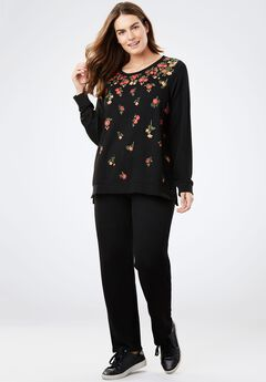 Printed French Terry Sweatsuit, BLACK GRADUATED FLORAL