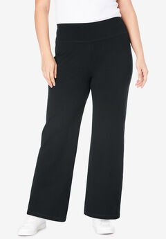 Stretch Cotton Wide Leg Pant, BLACK, hi-res