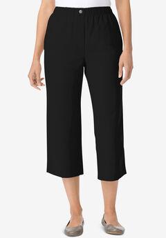 Elastic-Waist Cotton Capri, BLACK