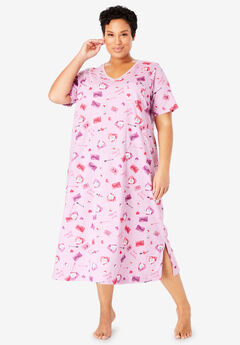 Long Print Sleepshirt by Dreams & Co.®, LIGHT ORCHID LETTERS