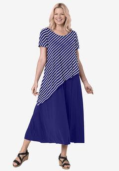 Asymmetric knit popover dress, NAVY STRIPE
