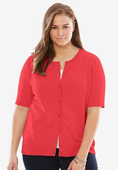 Perfect Short Sleeve Cardigan, CORAL RED, hi-res