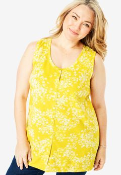 Button-Front Sleeveless Tunic,