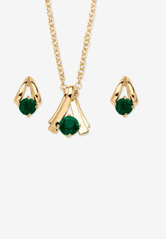 Simulated Birthstone Solitaire Pendant and Earring Set with FREE Gift in Goldtone, Boxed,