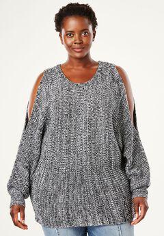 Dolman Sleeve Sweater by Chelsea Studio®, BLACK WHITE MARLED, hi-res