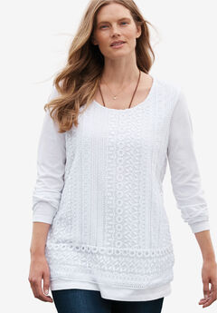 Crochet front tee, WHITE, hi-res