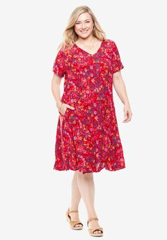Short Crinkle Dress, VIVID RED LEAF PAISLEY