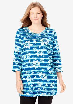 Perfect Printed Three-Quarter-Sleeve Scoop-Neck Tunic,