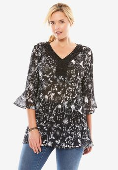 Pleated popover blouse with 3/4 sleeves, BLACK FLORAL SCROLL, hi-res