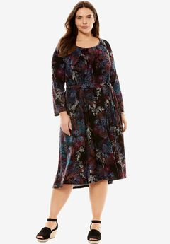 Chelsea Studio® Shift dress, BLACK SKETCH FOLIAGE, hi-res