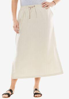 Long linen skirt, NATURAL KHAKI, hi-res