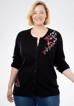 Perfect Long Sleeve Cardigan, BLACK FLORAL EMBROIDERY