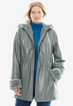 Hooded Leather Anorak with Faux Shearling Trim,