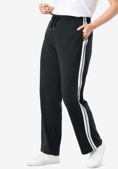 Side-Stripe Sport Knit Pants, BLACK WHITE HEATHER GREY, hi-res