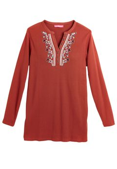 Embroidered Thermal Knit V-Neck Henley,