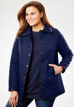Light quilted snap-front jacket, NAVY, hi-res