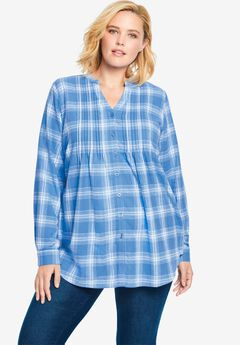 Pintucked Flannel Shirt, HORIZON BLUE WHITE PLAID
