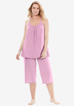 Breezy Eyelet Knit Tank & Capri PJ Set by Dreams & Co.®,