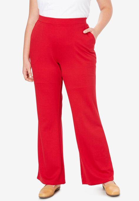 Wide Leg Ponte Knit Pant Plus Size Tall Woman Within