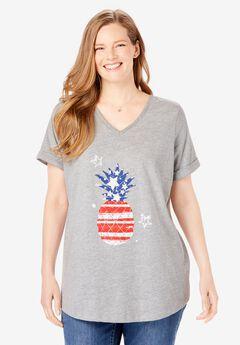 Cuffed Americana Print Tee,