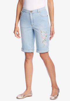Stretch Jean Bermuda Short, LIGHT WASH SANDED FLORAL EMBROIDERY