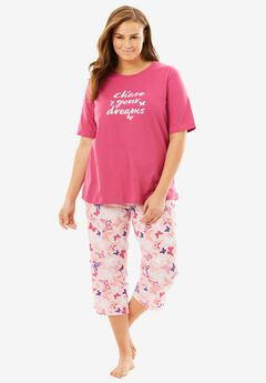 V-Neck Capri PJ Set by Dreams & Co.®, PINK BUTTERFLY, hi-res