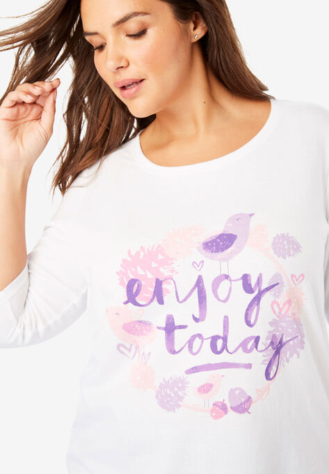 a765ce0cf9a19 Graphic Print Three-Quarter Sleeve Tee | Plus Size T-Shirts | Woman ...