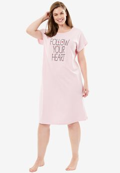 Cotton Crisscross Back Graphic Sleepshirt by Dreams & Co.®, FOLLOW YOUR HEART, hi-res