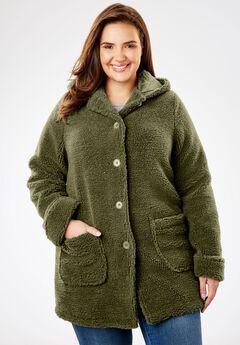 Hooded Berber Fleece Jacket, DARK BASIL