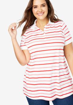 Perfect Printed Polo Shirt, VIVID RED MULTI STRIPE