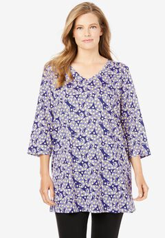 Perfect V-Neck Three-Quarter Sleeve Tunic, DEEP PURPLE PAISLEY
