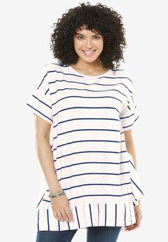 Flounce hem Stripe Tunic,