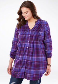 Pintucked Flannel Bigshirt, DUSTY LILAC PLAID