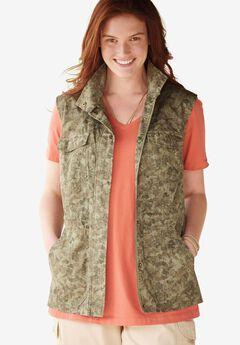 Utility vest, OLIVE FLORAL CAMO, hi-res