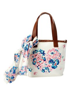 The Flower Power  Satchel & Scarf, HEART PRINT, hi-res