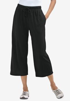 Sport Knit Capri Pant, BLACK