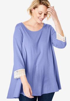 Crochet-Sleeve Tunic, FRENCH LILAC